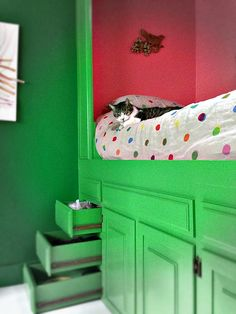 This awesome bed was made from old kitchen cabinets!