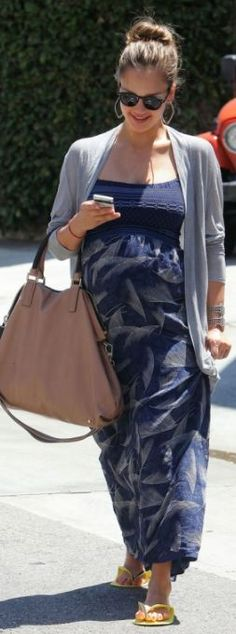 Who made Jessica Alba's blue maxi dress and sunglasses that she wore in Bevelry Hills on August 1, 2011?