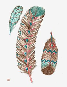 Blue and Peach feathers Art Print