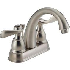 Delta Windemere Brushed Nickel 2-Handle 4-in Centerset WaterSense Bathroom Faucet (Drain Included)