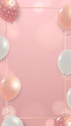 White and pink balloons frame design mobile phone wallpaper vector | free image by rawpixel.com / Kappy Kappy Handy Wallpaper, Framed Wallpaper, Pink Wallpaper Iphone, Flower Wallpaper, Marble Balloons, Pink Balloons, Birthday Background Design, Background Designs, Balloon Frame