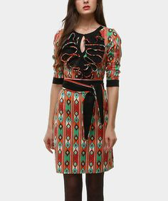Take a look at this Green & Red Kiowa Chorreras Tie-Waist Dress by Almatrichi on #zulily today!