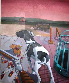 'Gun Dog' Oil on Canvas. Contemporary Paintings, Oil On Canvas, Cool Pictures, Guns, Dog, Weapons Guns, Diy Dog, Painted Canvas, Handgun