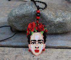 Amazing Huichol Beaded Frida Kahlo Artist adjustable Necklace Mexican Folk Art