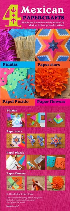 4 Mexican paper crafts: Simple and fun craft tutorials inspired by Mexican Artisan paper decorations: Pinatas, paper stars, papel picado and paper flowers (Happythought paper craft Book Decor Crafts, Fun Crafts, Paper Crafts, Crafts For Kids, Mexican Birthday, Mexican Party, Mexican Pinata, Party Fiesta, Festa Party