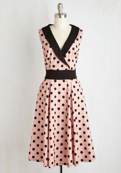 Hep it Up Dress. Time to frock around the clock in the sassy style of this dotted dress! #pink #modcloth