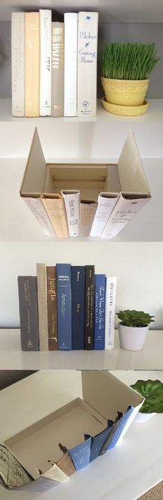 DIY SECRET HIDDEN AREA IN BOOKS - Simple to make! Grab some old hardcover books (from yardsales or the goodwill cheap). Use any box you have (even a shoe box will work). Use scissors or an exacto knife to cut the spine off several books. LEAVE cover on the two end books. Use hot glue gun to attach books together and to your box. Place jewelry, money, or even your router inside & group with other books! No one will know!