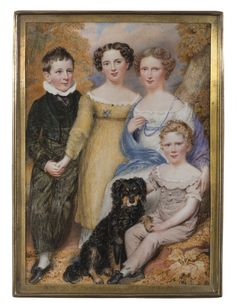 Miniature Portrait of four children and their dog