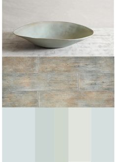 Bowl by Nathalie De'rouet, Timber glen flooring in thatch from Dal Tile, Colors: Palest pistachio from Benjamin Moore, Pale smokefrom Benjamin Moore, Light Blue from Farrow and Ball, Paper white from Benjamin Moore, Serenata from Benjamin Moore