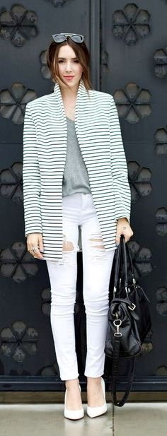 Stripe casual blazer