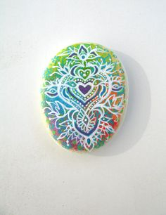 Hand Painted Zen Style Heart Pattern On Multi Chakra Coloured Background, Original Hand Painted Rock Art, Meditation.