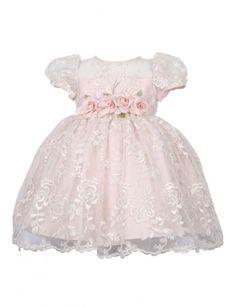 Vestido bebê renda - Rosê