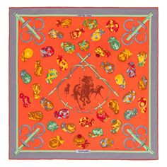 """Jockey"", 70x70 cm scarf in vintage silk. Design: Philippe Ledoux. Play with your Hermès scarf with the Silk Knots app! hermes.com/silkknots   #Hermes #Silk #SilkKnots"