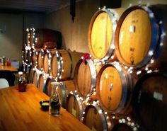 Barrels of wine decorated for the holidays @Fabbioli Cellars #vawine http://www.visitloudoun.org/Experience-Loudoun/Fabbioli-Cellars