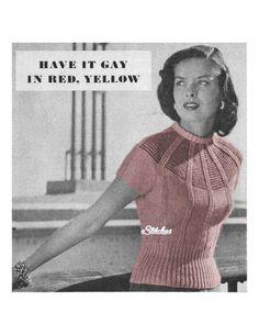 1940s Fancy Yoke Sweater Blouse with High Roll Collar- Knit pattern PDF 6349