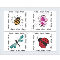 Cards & Gift Tags  Thank You Butterfly by PixelDustPrintables1