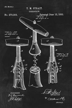 Keep Calm Collection - Wine Corkscrew Invention Patent Art Poster Print (http://www.keepcalmcollection.com/wine-corkscrew-invention-patent-art-poster-print/)