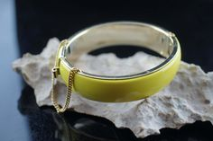 Vintage Art Deco bracelet  Hinged Bangle Bracelet With Safety Chain yellow enamel gold tone aa14 by VintageEstate86 on Etsy
