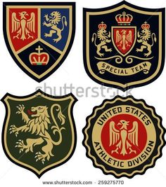 classic royal emblem heraldic badge set - stock vector