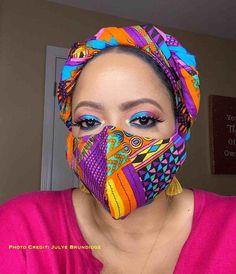 HEADWRAP & FACE MASK set, African Print Face Mask, Ankara Mask, 100% Cotton Reusable Face Mask w/ Filter Pocket, Shaped Mask HWFM2002 Face Mask Set, Diy Face Mask, Pattern Cutting, Diy Mask, Fashion Face Mask, Mask Design, Head Wraps, Ankara, Purple