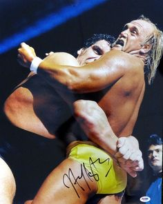 Hulk Hogan Autographed 16x20 Photo WWE w/ Andre the Giant PSA/DNA