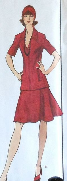 Vintage VOGUE Paris Original Nina Ricci Zippered Top and Skirt Sewing Pattern