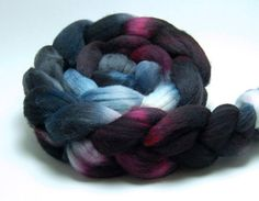Death Rides a Horse - 4 oz Black Grey Red Handpainted Merino Wool Roving Top. $16.00, via Etsy.