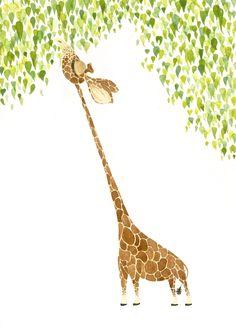 Giraffe Print Fine Art Giclee Print Illustration by SolingerArt