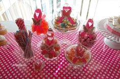 From logs.babycenter.com....a nice addition for any kid's table or baby shower. Just find candy in the color of your babyshower theme.