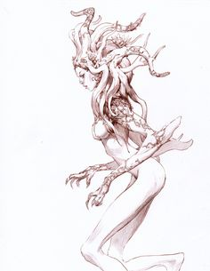 ArtStation - Mermaids and demons, Viktor Titov Dark Fantasy, Fantasy Art, Art Sketches, Art Drawings, Sketch Drawing, Character Art, Character Design, Poses References, Creature Design