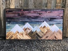 READY TO SHIP! Rustic Sunset Five Mountains Wood Wall Art art diy art easy art ideas art painted art projects