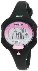 Timex Women's T5K522 Ironman Traditional 10-Lap Black Resin Strap Watch Timex. $28.01. Lens material: acrylic. Digital read, Alarm settable, 2 time zone setting, All day white reflector display, Buckle strap, Stopwatch. Top pusher for easy operation, Built in setting reminders to quickly and easily set your watch, Case width: 34.4 mm, Case height: 10.6mm, Lug width: 12mm. Mid-size watch,Water-resistant up to 330 feet (100M), Indiglo night light, 99-lap counter, 10-lap memo...