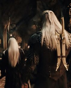 Father and son... Legolas's head looks kind of bowed here, like it pains him to have to carry out his father's order to close off the kingdom.