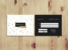 Gold confetti double sided gift certificate by deideigraphic