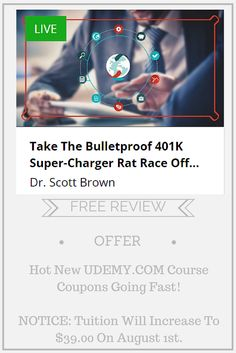 FREE REVIEW NOW EXPIRED...  NOW HALF OFF... Hot New UDEMY.COM Course Coupons Going Fast!  Formerly free, now take $10 off.  Just $9 through July 3rd.   NOTICE: Tuition Will Increase To $39.00 On August 1st. Stock Investing, Investing In Stocks, 401k Plan, Rat Race, Retirement Planning, Stock Market, Workplace, Coupons, How To Plan