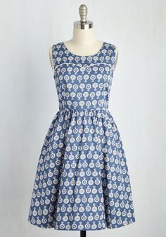 Folksy the Sights Dress. As you flit through the folk festival, the most fantastic sight to see is you in this cotton dress by Mata Traders! #blue #modcloth