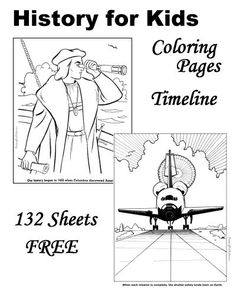 American history timeline for kids helps teach the important events that shaped the United States. Early explorers, the Revolution, US Presidents, American inventors and other famous people are just a few of the many FREE, printable coloring pages of this American history timeline.