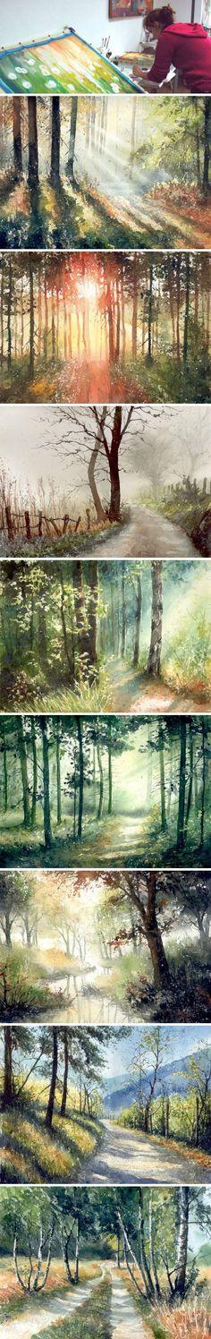 Watercolor landscape painter works from Poland Malgorzata Szczecinska appreciation