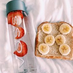 banana, boho, bread, breakfast, drinks, food, fruits, grunge, healthy, hipster, indie, pale, photography, retro, strawberry, tumblr, vintage, voss, water