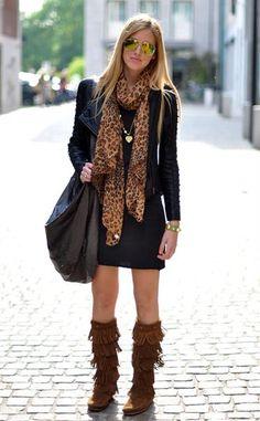 Маленькое черное платье и леопардовый принт