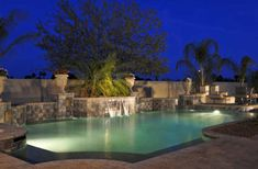 Modern Swimming Pools Designs for Healthy and Fit with Lighting on the Night