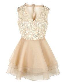 V-neck Lace Sequins Sleeveless Dress
