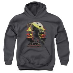 King Kong Skull Island Sunset Youth Pull-Over Hoodie - Charcoal