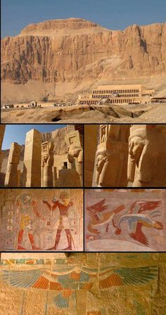 1500-500BC Deir el-Bahari Timeline Project, Egyptian Art, Luxor, Ancient Egypt, Belle Photo, Mount Rushmore, Photos, River, Mountains