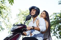 Young couple riding scooter and cheering Young Couples, High Level, Riding Helmets, Cheer, Things To Come, India, Stock Photos, Image, Delhi India