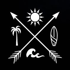 Sun Palm Tree Surf Waves with Crossed Arrows Vinyl Window Decal travel beach summer vacation sunshine holiday Sunshine Holidays, Tattoo Sonne, Tree Tattoo Back, Palm Tree Tattoos, Surf Tattoo, Crossed Arrows, Palm Trees Beach, Filipino Tattoos, Summer Tattoo