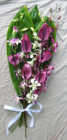 Purple Arc and Orchids Hawaiian Wedding Bridal Bouquet