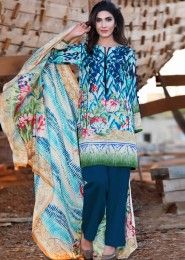 Casual Wear Sky Blue Pashmina Printed Straight Suit
