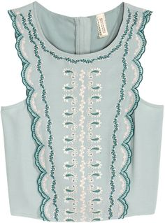 H&M - Embroidered Blouse - Mint green - Ladies