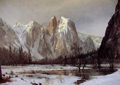 Excellent Hand Painted landscape painting Cathedral Rock, Yosemite Valley, California by Albert Bierstadt for living room wall art or gift Landscape Art, Landscape Paintings, Landscapes, Albert Bierstadt Paintings, Carl Spitzweg, Hudson River School, Yosemite Valley, Oil Painting Reproductions, Painting Edges